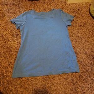 Size small 100% cotton plain light blue tee
